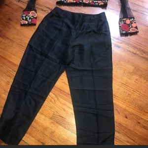 Pants - High Waist Silk Capri Trouser